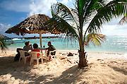 MEXICO, COZUMEL, TOURISM beach palapas on Chen Rio Beach