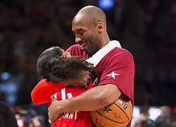 File photo dated february 14, 2016 of Los Angeles Lakers' Kobe Bryant (24) hugs his daughter Gianna on the court in warm-ups before first half NBA All-Star Game basketball action in Toronto, ON, Canada. Kobe Bryant, the 18-time NBA All-Star who won five championships and became one of the greatest basketball players of his generation during a 20-year career with the Los Angeles Lakers, died in a helicopter crash Sunday. Bryant's 13-year-old daughter Gianna also was killed. Photo by Mark Blinch/CP/ABACAPRESS.COM