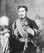 Mutsuhito (1852-1912) Emperor of Japan from 1867.  Photographing the Mikado (Emperor) was forbidden