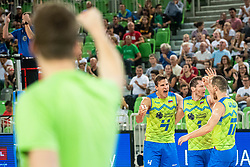 Jan Kozamernik, Tonci Stern and Tine Urnaut of Slovenia celebraiting point during friendly volleyball match between Slovenia and Serbia in Arena Stozice on 2nd of September, 2019, Ljubljana, Slovenia. Photo by Grega Valancic / Sportida