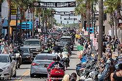 Because the city of Daytona will not close Main Street to 4-wheeled traffic except on a couple of occasions during the rally (unlike Sturgis and Laconia that close all week), there tends to be terrible congestion and many bikers choose not to ever go to Main Street anymore. Daytona Beach Bike Week, FL. USA. Saturday, March 16, 2019. Photography ©2019 Michael Lichter.
