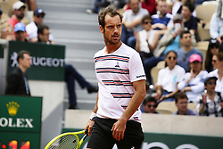 May 27, 2019 - Paris, France - France's Richard Gasquet reacts during hismen's singles first round match against Germany's Mischa Zverev on day two of The Roland Garros 2019 French Open tennis tournament in Paris on May 27, 2019. (Credit Image: © Ibrahim Ezzat/NurPhoto via ZUMA Press)