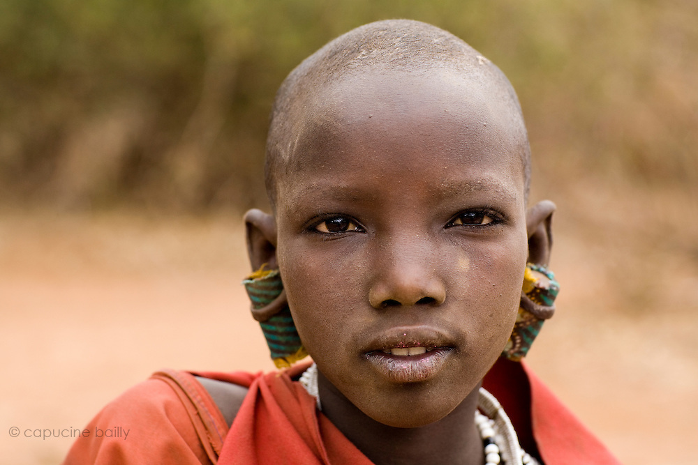 TANZANIA. Longido Mountain Area..August 3rd 2009..A young Maasai women..