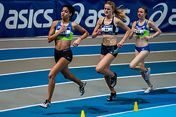 (L-R) Celine van Heerikhuize, Britt Roos, Sarah Peerik in action on the 800 meters during limit matches to be held simultaneously with the Dutch Athletics Championships on 14 February 2021 in Apeldoorn