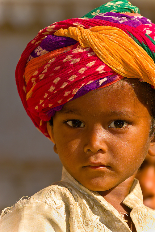 Boy wearing a turban, Jaisalmer Fort, Jaisalmer, Rajasthan, India