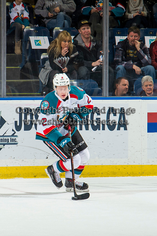 KELOWNA, CANADA - FEBRUARY 2:  Lassi Thomson #2 of the Kelowna Rockets skates with the puck against the Kamloops Blazers on February 2, 2019 at Prospera Place in Kelowna, British Columbia, Canada.  (Photo by Marissa Baecker/Shoot the Breeze)