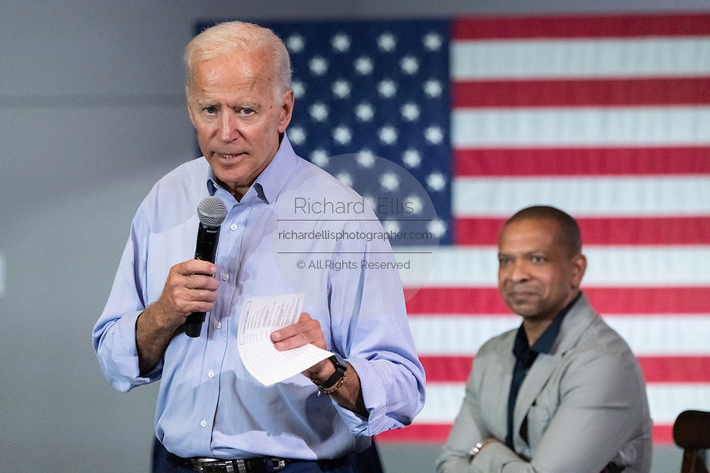 Former Vice President Joe Biden talks about his concern for soldiers during a town hall meeting at the International Longshoreman's Association Hall July 7, 2019 in Charleston, South Carolina.