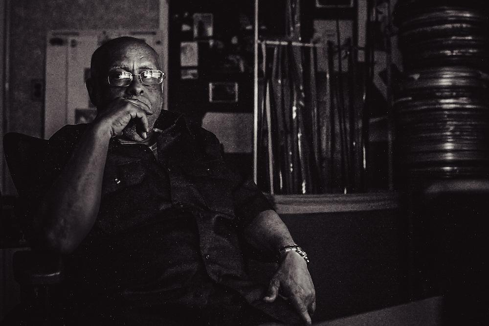 """Haile Gerima editing his upcomming documentary """"Children of Adwa""""."""