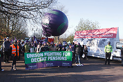 Unison members with banners at demonstration against pension cuts, Nottingham 30th November 2011
