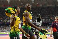 LONDON OLYMPIC GAMES 2012 - OLYMPIC STADIUM , LONDON (ENG) - 05/08/2012 - PHOTO : JULIEN CROSNIER / KMSP / DPPI<br /> ATHLETICS - 100M FINAL - USAIN BOLT (JAM) / WINNER / GOLD MEDAL