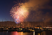 Fourth of July Fireworks over harbor, Santa Barbara, California