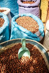 Bags of nuts in market, Fes al Bali medina, Fes, Morocco