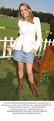 The HON.SOPHIA WELLESLEY granddaughter of the 8th Duke of Wellington, at a polo match in West Sussex on 18th July 2004.PXG 431