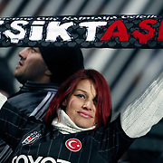 Besiktas's Supporters fans during their UEFA Europa League Round of 16, Second leg soccer match Besiktas between Atletico Madrid at Inonu stadium in Istanbul Turkey on Thursday March 15, 2012. Photo by TURKPIX