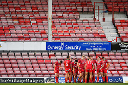 11th November 2018 , Racecourse Ground,  Wrexham, Wales ;  Rugby League World Cup Qualifier,Wales v Ireland ; Wales team behind the try line after conceding a try to Ireland<br /> <br /> <br /> Credit:   Craig Thomas/Replay Images