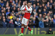 Alexis Sanchez of Arsenal reacting after missing a chance to score.Premier league match, Chelsea v Arsenal at Stamford Bridge in London on Saturday 4th February 2017.<br /> pic by John Patrick Fletcher, Andrew Orchard sports photography.
