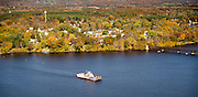 The Merrimac Ferry, ColSac III, heads across the Wisconsin River on a beautiful fall day.
