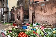 A vegetable seller on the street in Chandannagar, India