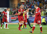 KIEV, UKRAINE - MAY 26: Jordan Henderson of Liverpool reacts during the UEFA Champions League final between Real Madrid and Liverpool at NSC Olimpiyskiy Stadium on May 26, 2018 in Kiev, Ukraine. (MB Media)