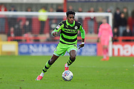 Forest Green Rovers Reece Brown(10) scorer of the first goal during the EFL Sky Bet League 2 match between Stevenage and Forest Green Rovers at the Lamex Stadium, Stevenage, England on 21 October 2017. Photo by Adam Rivers.