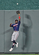 Minnesota Twins center fielder Nick Gordon (1) makes a leaping catch at the wall during the sixth inning against the Kansas City Royals at Kauffman Stadium.