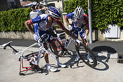 July 8, 2018 - La Roche-Sur-Yon, France - LUDVIGSSON Tobias of Groupama - FDJ, DEMARE Arnaud of Groupama - FDJ during stage 2 of the 105th edition of the 2018 Tour de France cycling race, a stage of 182.5 kms between Mouilleron - Saint-Germain and La Roche-Sur-Yon on July 08, 2018 in La Roche-Sur-Yon, France, 8/07/2018 (Credit Image: © Panoramic via ZUMA Press)
