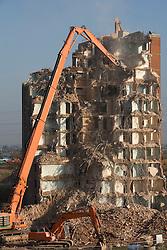 Demolition of the University of East London accommodation blocks.