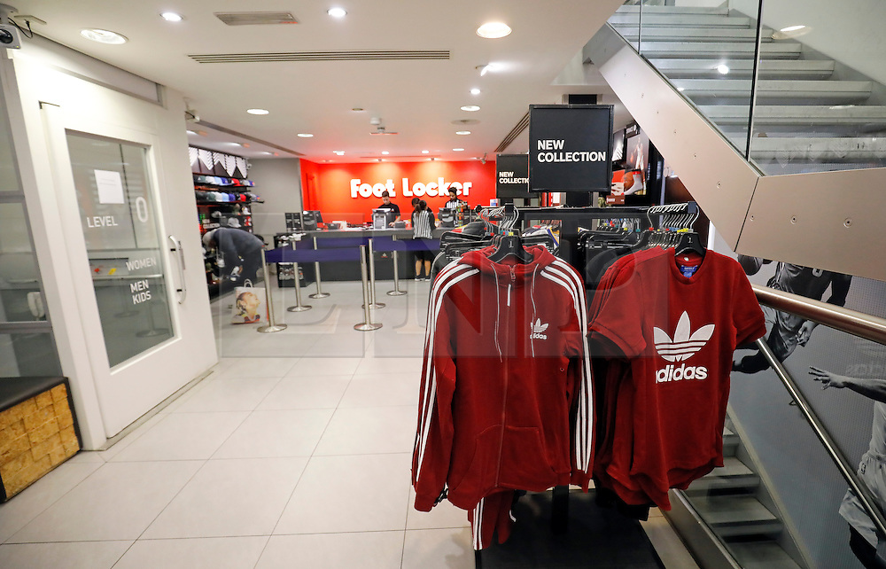 """© Licensed to London News Pictures. 25/11/2016. London, UK. Empty check out area at Foot Locker on Oxford Street, London, in the early hours on """"Black Friday"""". Sales from this years Black Friday event are expected to top £2 billion. Photo credit: Tolga Akmen/LNP"""