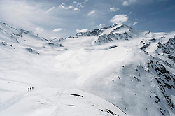 High mountains Alps landscape skiers snow