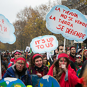 The Red Line action between the Arc de Triumph and La Defense. COP21 in Paris. The official climate talks in Paris is on and the pressure to come up with a sustainable legally binding is high.