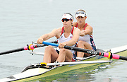 Munich, GERMANY, USA W2- Bow Erin CAFARO and Amanda POLK, Moves away from the pontoon in the Time trial heat,  Women's pair at the FISA World Cup on the Munich Olympic Rowing Course, Friday  27/05/2011  [Mandatory Credit Peter Spurrier/ Intersport Images]