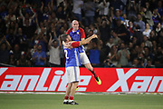 Zinedine Zidane (France 98) jumped in arms of Alain BOGHOSSIAN (France 98) after the gaol scored during the 2018 Friendly Game football match between France 98 and FIFA 98 on June 12, 2018 at U Arena in Nanterre near Paris, France - Photo Stephane Allaman / ProSportsImages / DPPI