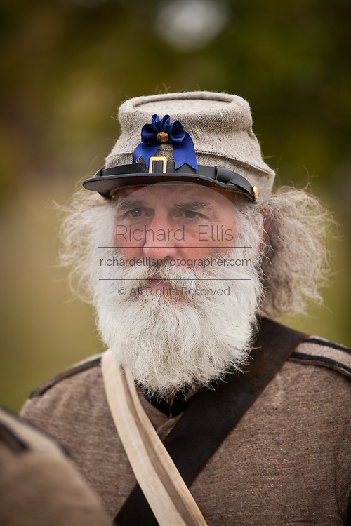 Confederate re-enactor at Fort Moultrie Charleston, SC. The re-enactors are part of the 150th commemoration of the US Civil War.