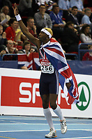 Photo: Rich Eaton.<br /> <br /> EAA European Athletics Indoor Championships, Birmingham 2007. 03/03/2007. Phillips Idowu of Great Britain wins the gold medal in the triple jump and celebrates