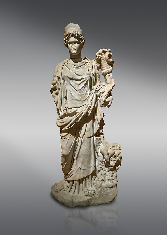 Roman statue of Hygieia. Marble. Perge. 2nd century AD. Inv no .Antalya Archaeology Museum; Turkey.<br /> <br />  Hygieia was one of the Aeclepiadae; the sons and daughters of the god of medicine; Asclepius; and the goddess of healing; Epione. She was the goddess of health; cleanliness and hygiene. .<br /> <br /> If you prefer to buy from our ALAMY STOCK LIBRARY page at https://www.alamy.com/portfolio/paul-williams-funkystock/greco-roman-sculptures.html . Type -    Antalya     - into LOWER SEARCH WITHIN GALLERY box - Refine search by adding a subject, place, background colour, museum etc.<br /> <br /> Visit our ROMAN WORLD PHOTO COLLECTIONS for more photos to download or buy as wall art prints https://funkystock.photoshelter.com/gallery-collection/The-Romans-Art-Artefacts-Antiquities-Historic-Sites-Pictures-Images/C0000r2uLJJo9_s0