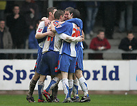 Photo: Lee Earle.<br /> Torquay United v Hartlepool United. Coca Cola League 2. 17/02/2007.Hartlepool players congratulate Eifion Williams after he scored their opening goal.