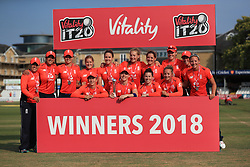England's captain Heather Knight and her team celebrate victory during the Women's Vitality International T20 Tri-Series Final at The CloudFM County Ground, Chelmsford.
