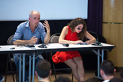 June 17, 2017 - Paris, France - The former French presidential election candidate for the far-left New Anticapitalist Party (NPA) Philippe Poutou (L) participates in a debate with students of the famous Ecole normale supérieure, a superior teachers' training college, in Paris, on June 17th, 2017. (Credit Image: © Michel Stoupak/NurPhoto via ZUMA Press)