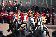 Trooping the Colour is a ceremony performed by regiments of the British and Commonwealth armies and as also marked the official birthday of the British sovereign, Queen Elizabeth.It is held in London annually on a Saturday in June on Horse Guards Parade by St. James's Park<br /> <br /> On the photo:  Prince William and Prince Charles