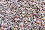 Raindrops on pebbles make a splash of colour as rain starts to fall on Bossington Beach, Somerset, UK
