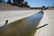 The Los Angeles River running through Reseda in the San Fernando Valley, Los Angeles, California, USA