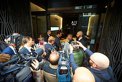 © Licensed to London News Pictures. 11/09/2019. London, UK.  Members of the media pictured outside the Sports Direct International plc held in Academy House in Poland Street. Unlike previous years journalists have been barred from attending.  Photo credit: Cliff Hide/LNP