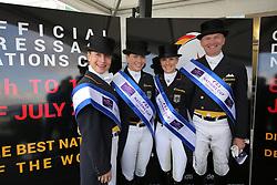 Werth, Isabell (GER);<br /> Bröring-Sprehe, Kristina (GER);<br /> Bredow-Werndl, Jessica(GER);<br /> Schmidt, Hubertus (GER), <br /> Hagen - CDIO Nationenpreis Dressur 2015<br /> CDIO<br /> © www.sportfotos-lafrentz.de/Stefan Lafrentz