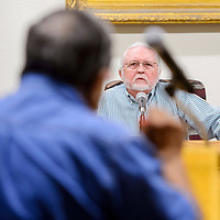 Gallup mayor Jackie McKinney listens to a statement from Jerry Garcia during the Gallup City Council meeting at Gallup City Hall Tuesday.