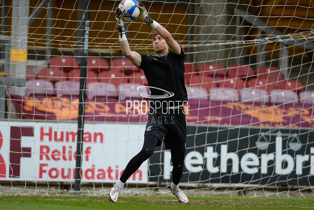 Scunthorpe United Rory Watson (1) warming up during the EFL Sky Bet League 2 match between Bradford City and Scunthorpe United at the Utilita Energy Stadium, Bradford, England on 1 May 2021.