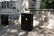 Rude anti-Boris Johnson graffiti on a telecoms junction box on Whitehall in London, United Kingdom.
