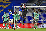 Everton goalkeeper Robin Olsen (33) saves from Brighton and Hove Albion forward Danny Welbeck (18) during the Premier League match between Brighton and Hove Albion and Everton at the American Express Community Stadium, Brighton and Hove, England UK on 12 April 2021.