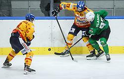 Casetti Lorenzo of Asiago vs Ulamec Luka of HK SZ Olimpija during first leg Ice Hockey game between HK SZ Olimpija Ljubljana and Asiago Hockey in Final of Alps Hockey League 2020/21, on April 20, 2021 in Hala Tivoli, Ljubljana, Slovenia. Photo by Vid Ponikvar / Sportida