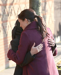 The Duchess of Sussex hugs Hubb kitchen coordinator Zaheera Sufyaan as she arrives to visit the Hubb Community Kitchen, London, to see how the funds raised by Together: Our Community Cookbook are making a difference.