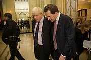 BORIS JOHNSON; GEORGE OSBORNE, Spectator Parliamentarian Of The Year Awards<br /> Claridge's Hotel, Brook Street. London. 13 November 2008 *** Local Caption *** -DO NOT ARCHIVE-© Copyright Photograph by Dafydd Jones. 248 Clapham Rd. London SW9 0PZ. Tel 0207 820 0771. www.dafjones.com.